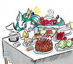 Celestia and the Dessert table by PoneBooth
