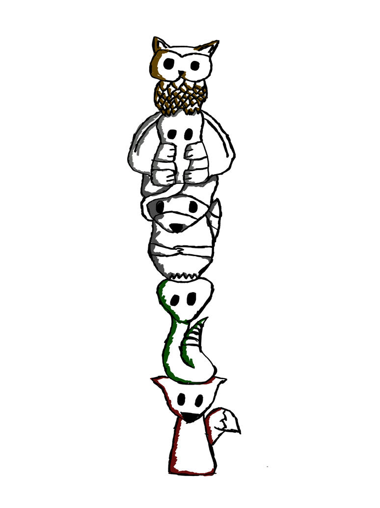 Totem Pole Drawing Totem Pole by Diggea