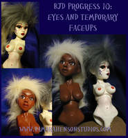 BJD Progress Collage 10: Eyes, Temp Faceups, Wigs by briescha