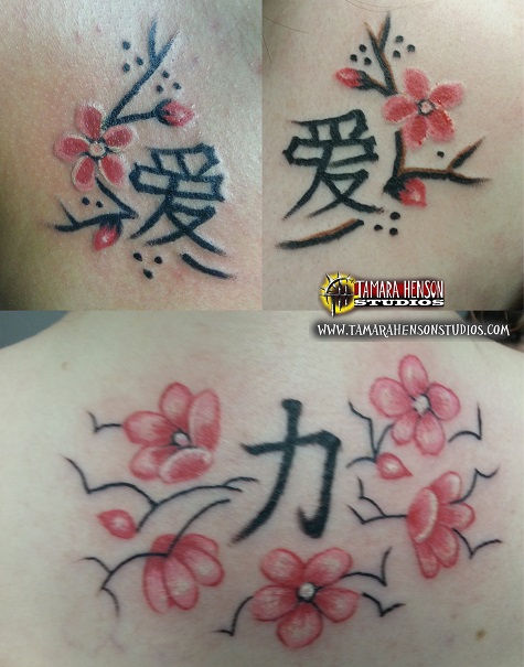 Tattoo: 3 Sisters Cherry Blossoms and Kanji by briescha on DeviantArt