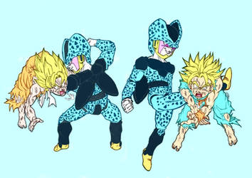 Cell Jrs. VS Goten and Trunks by ssjgogeto