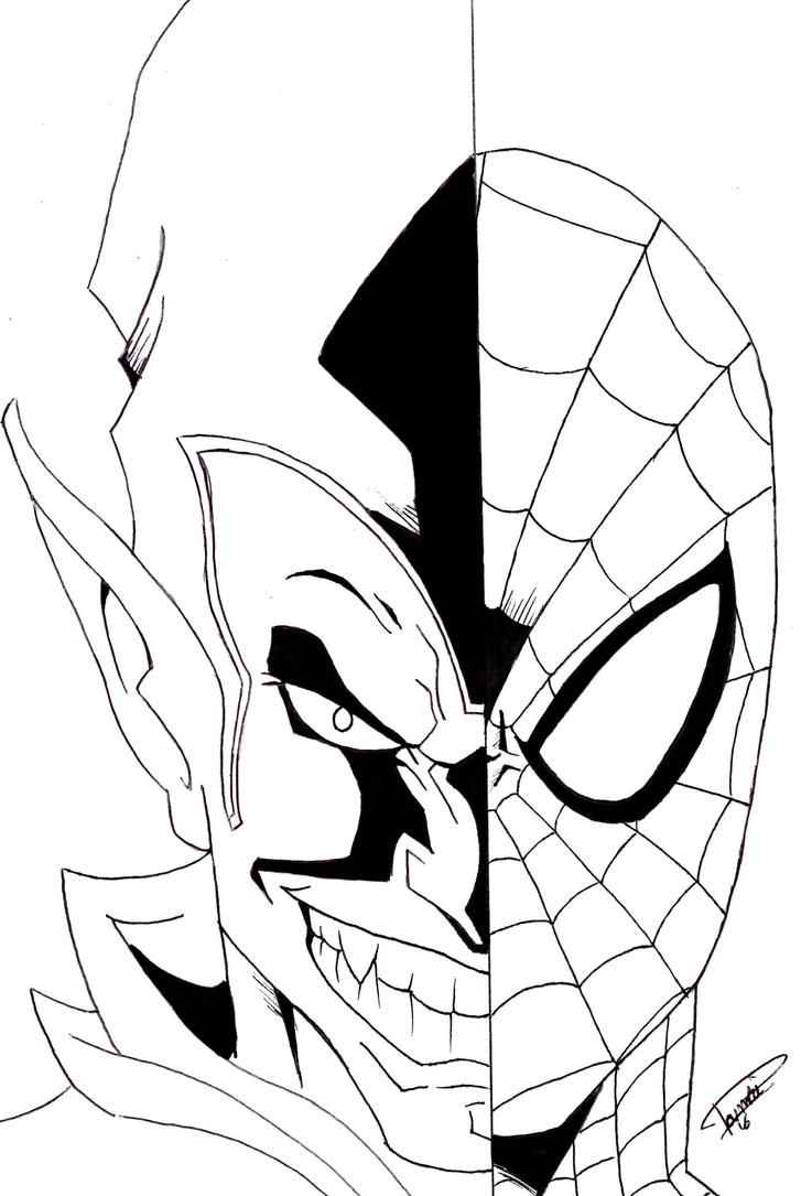 Spider man green goblin by prince376 on deviantart for Green goblin coloring pages