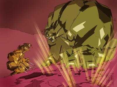 Hulk VS Wolverine in colors by Leonidas666