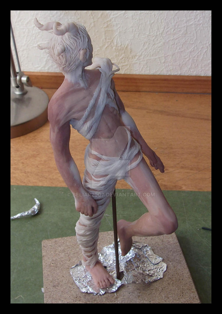 Sculpey WIP: The four horned demon by Beliar2007