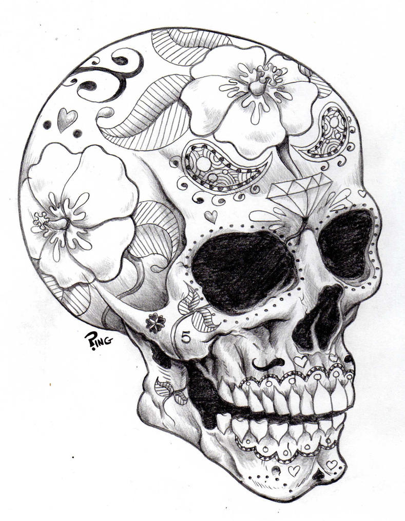 Beautiful Sugar Skulls Drawings Sugar Skull Ping by PINGriff