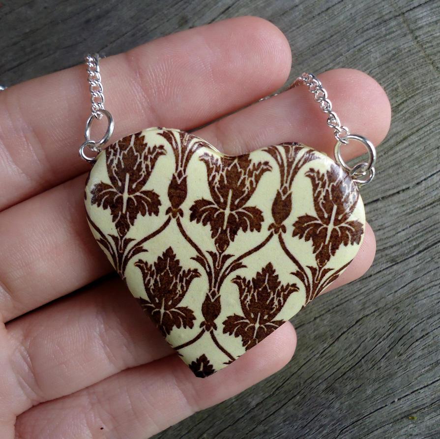 221B Wallpaper Heart Necklace by geeekalicious