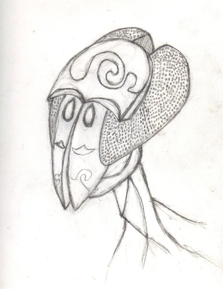 Alien Head Drawing Alien Head Drawing by