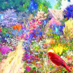 Red bird in the garden