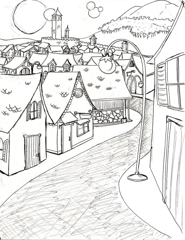 Line Art Village : Fantasy village by nikkichan on deviantart
