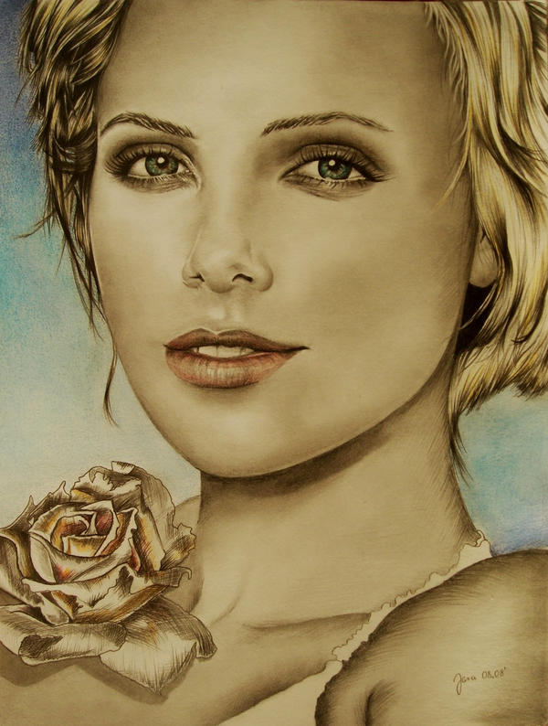 Charlize Theron Rose by jjara