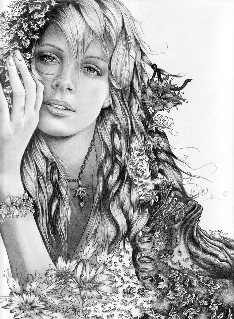 Charlie theron mother nature by jjara traditional art drawings