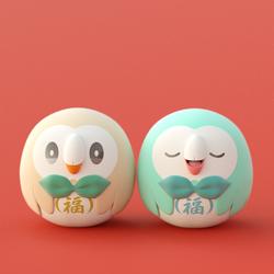 Rowlet Daruma dolls by sakura-rtd