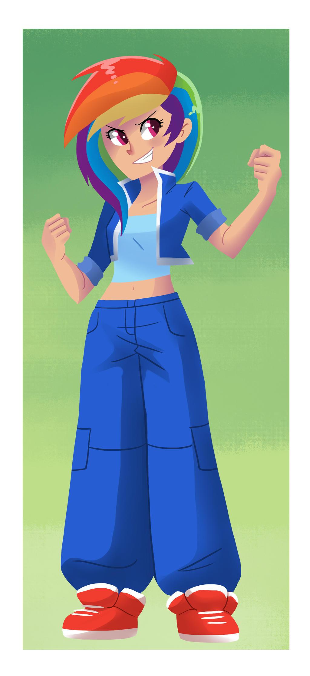 Humanized Rainbow Dash by kilala97