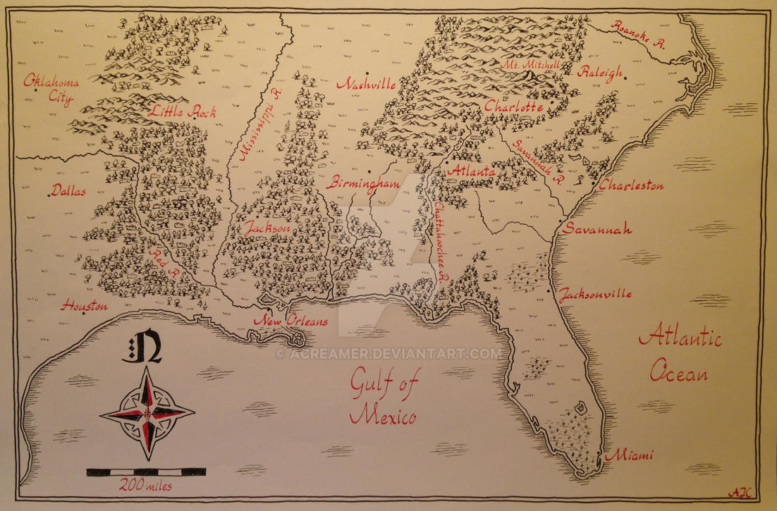 Hand Drawn Us Map.Map Of Southeast United States Hand Drawn By Acreamer On Deviantart