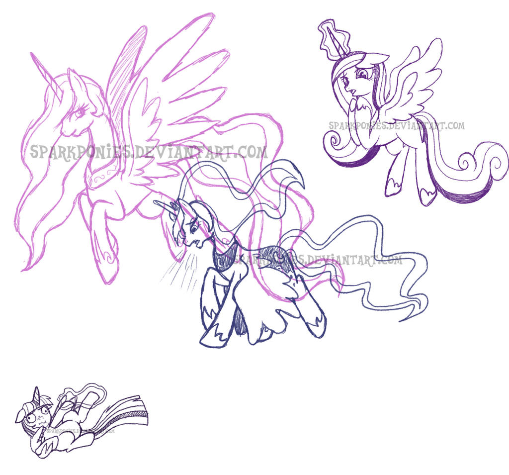 Flight of the Princesses by SparkPonies