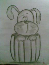 dog in a barrel sketch by eniale27