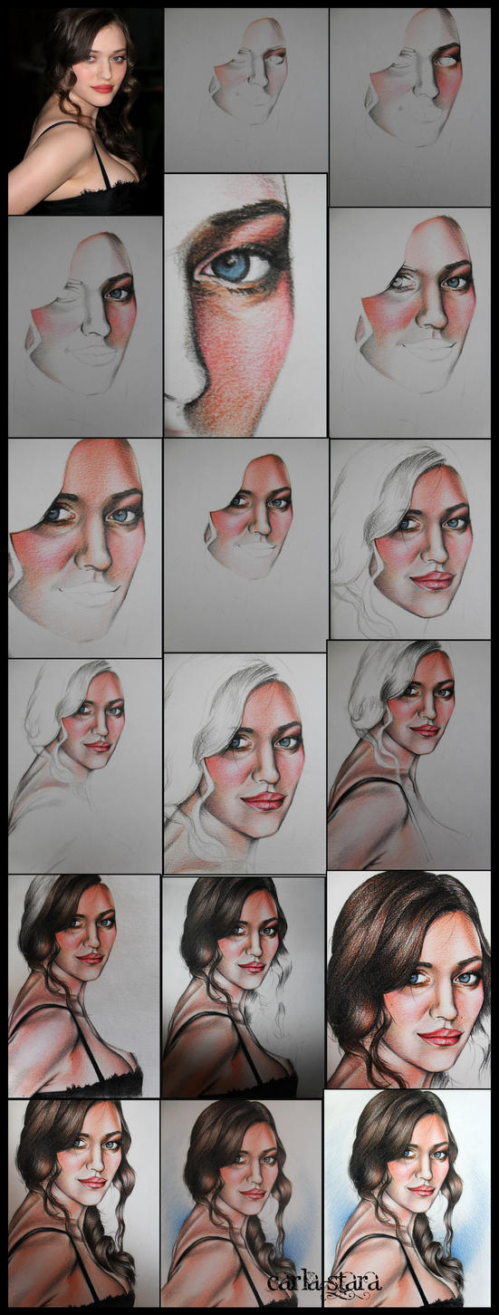 Kat Dennings Portrait step by step by carly2009