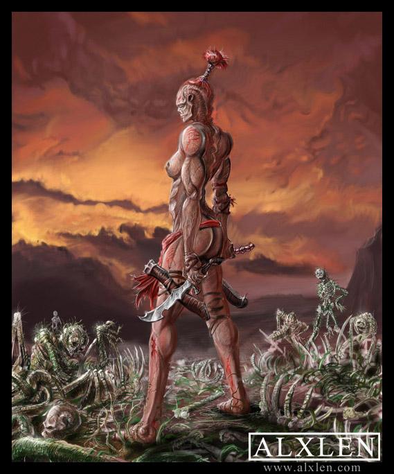 Female Veltrauss Warrior by AlexanderLeon