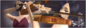 Sims playing violin- signature