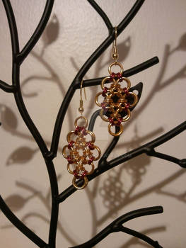 Red and Gold Japanese Diamond Earrings
