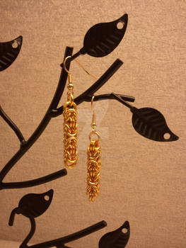 Golden Byzantine Chainmaille Earrings