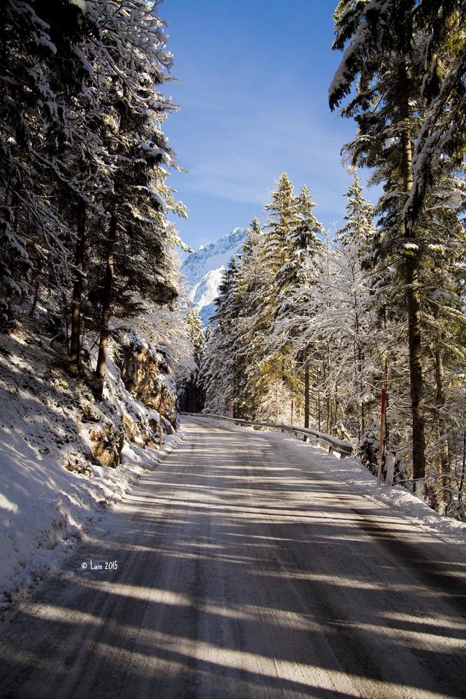 snowy road by Lain-AwakeAtNight