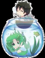 Yandere Simulator-MidoriGurin mermaid x Yanderedev by Yukipengin