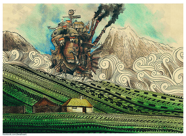 Anime/manga Fan Art - Página 2 Howl_s_moving_castle_by_eamanee-d7p8s2e