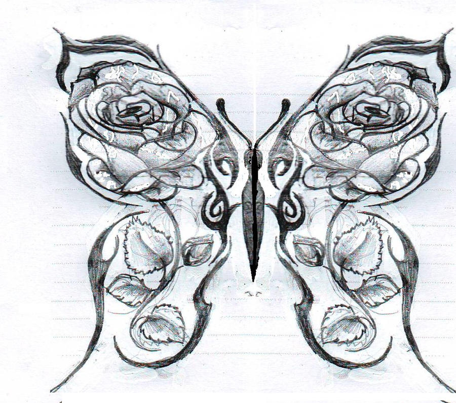 Butterfly with roses by kittyyy1989 on deviantart for Cool drawings of butterflies