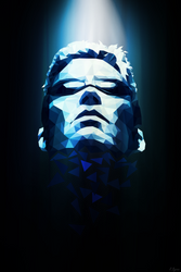 JC Denton (Deus Ex) Polygon Portrait by jaguarxj13