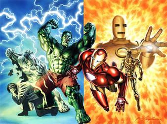 Iron Man and Incredible Hulk by felipemassafera