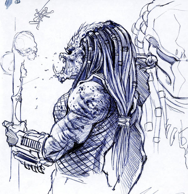 Line Art Vs Sketch : Predator sketch by felipemassafera on deviantart