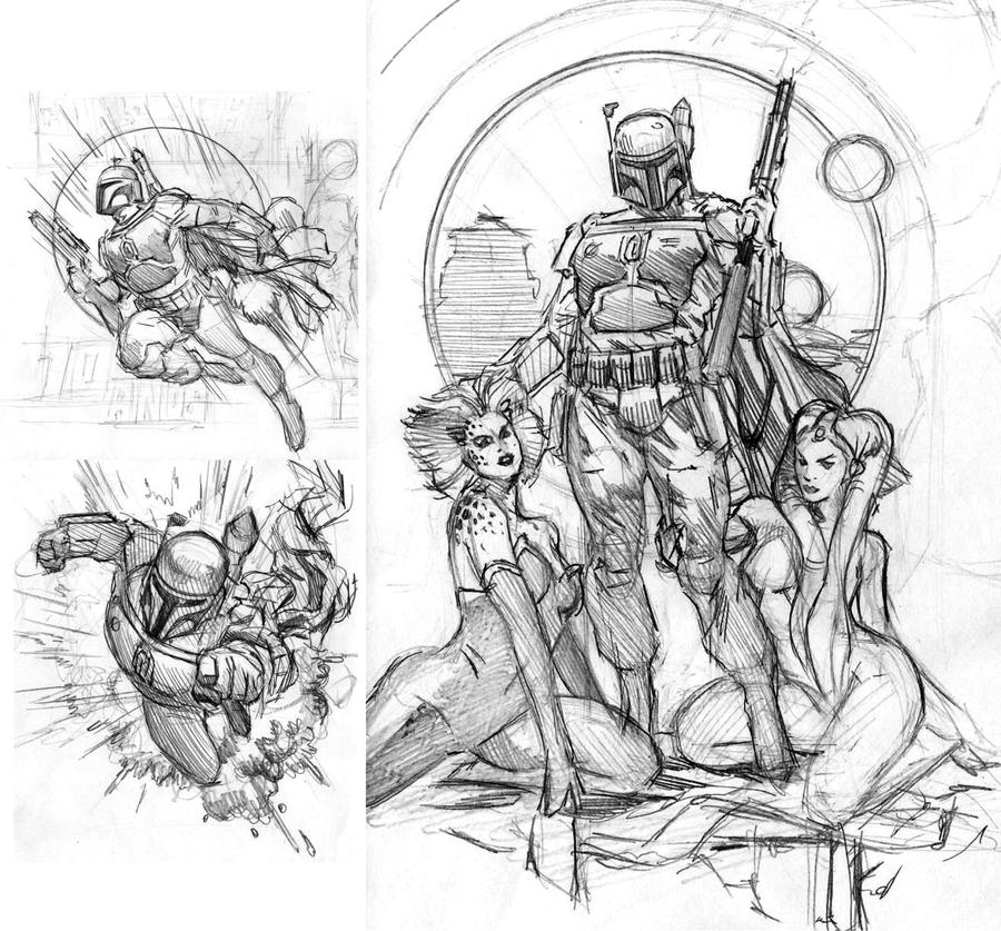 Boba Fett roughs by felipemassafera
