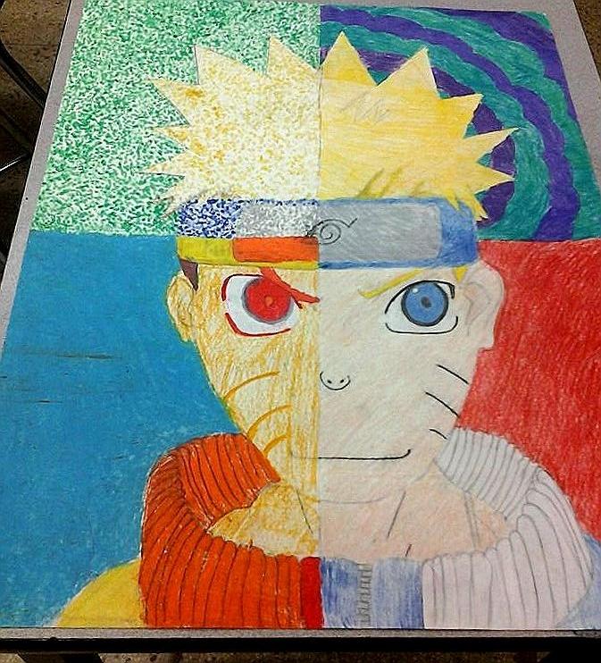 Naruto -fan art--school work- by Claddle