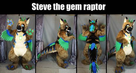 Steve the gem raptor fursuit