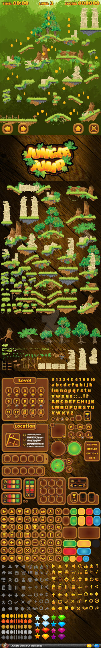 Jungle Jump Game Elements by quickyart