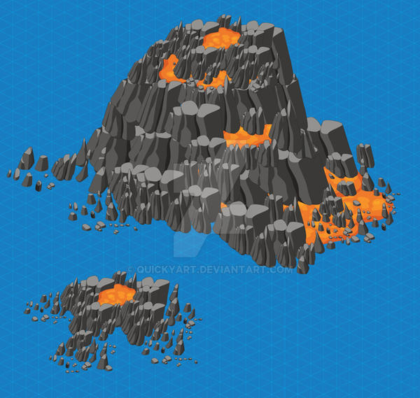 Isometric Volcano by quickyart