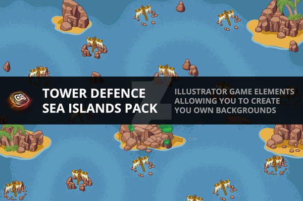 Tower Defence Elements - Sea Island Pack 1 by quickyart