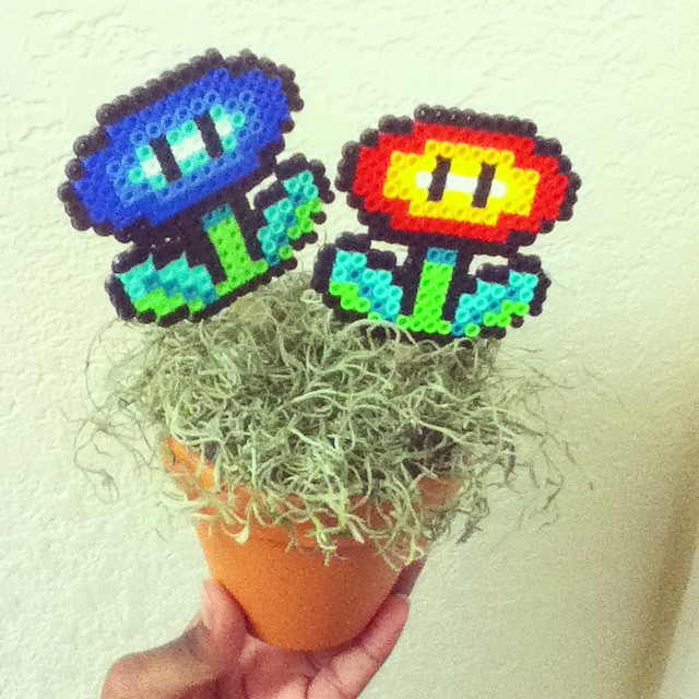 Perler bead: Fire and Ice flowers by Retro-Eternity
