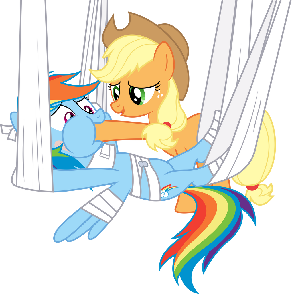 Applejack feeding Rainbow Dash by dasprid on DeviantArt