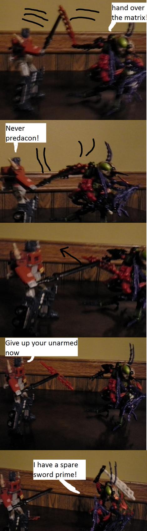Optimus prime  vs Predacon Scourage by imyouknowwho