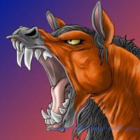Red roaring by littlebluewolf