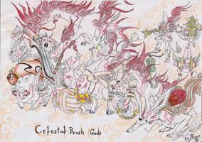 The Celestial Brush Gods by RenePolumorfous