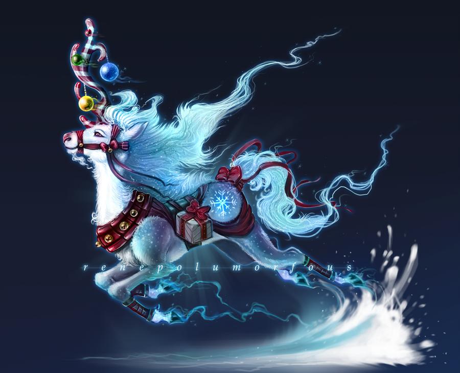 Festive Unicorn by RenePolumorfous