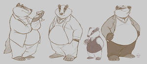 Badger father and son