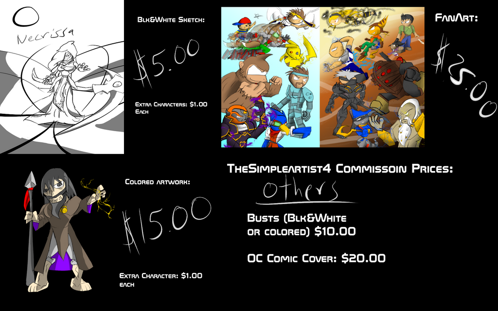Commissions price chart by Thesimpleartist4