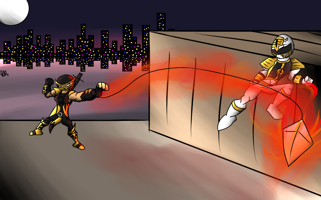 SPBD Scorpion vs White Ranger by Thesimpleartist4