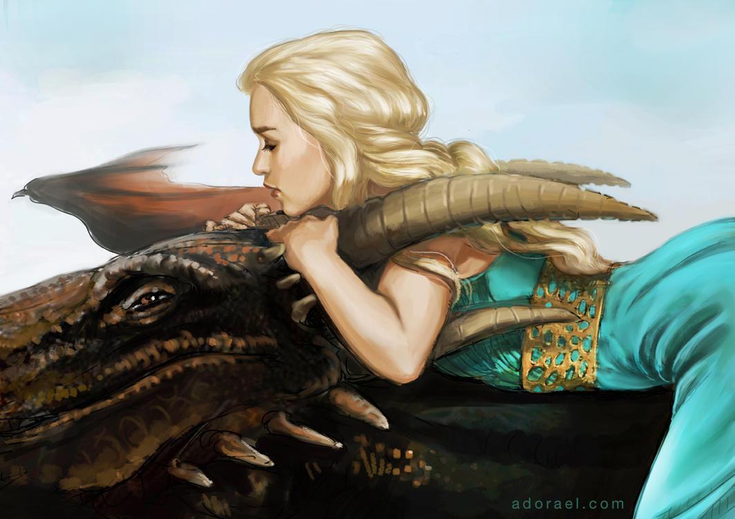 Daenerys riding Drogon by Adorael