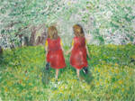 Girls In A Blossoming Garden - Small