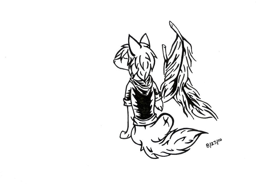 Tattoo wolf n feathers by muttritsu on deviantart for Wolf tattoo with feathers
